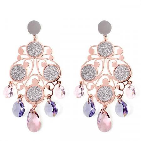 Orecchini chandelier in argento, glitter e cristalli Swarovski