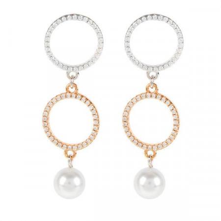 Orecchini in argento bicolor, zirconi e perle Swarovski
