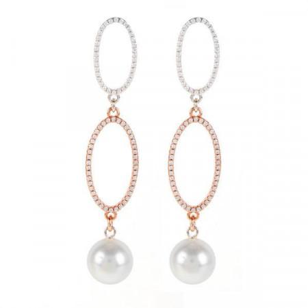 Orecchini in argento bicolor con orbite ovali, zirconi e perle Swarovski