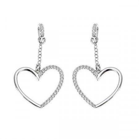 Orecchini in argento con cuore pendente
