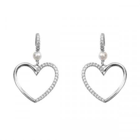 Orecchini in argento con perle Swarovski e cuore di zirconi
