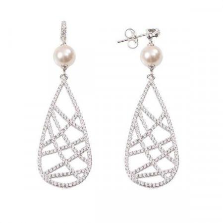 Orecchini in argento con perla Swarovski e pendente di zirconi