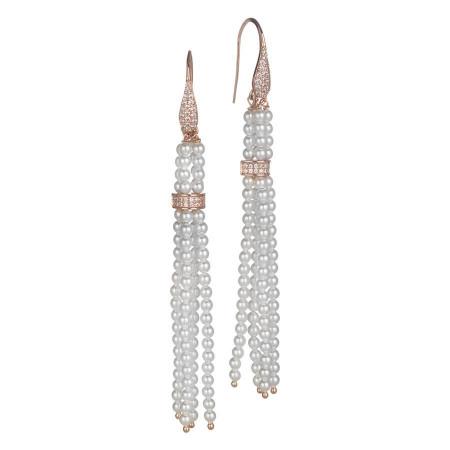 Orecchini con pendente a ciuffetto, perle Swarovski, argento rosato e zirconi