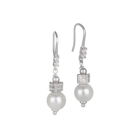 Orecchini pendenti con perla Swarovski e zirconi