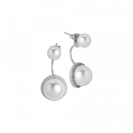 Orecchini doppia perla con pavè di zirconi