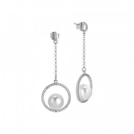 Orecchini pendenti con cerchio in pavè di zirconi e perla Swarovski