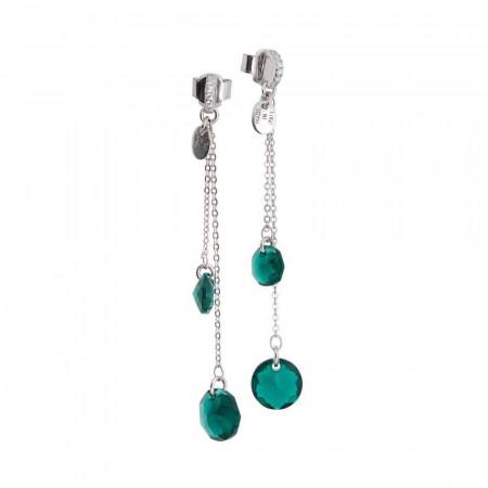 Orecchini con Swarovski emerald pendenti