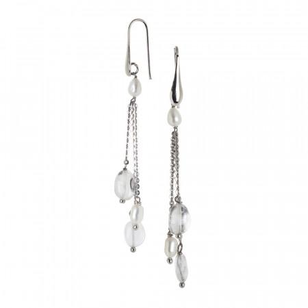 Orecchini a ciuffetto con perle naturali e cristallo di rocca