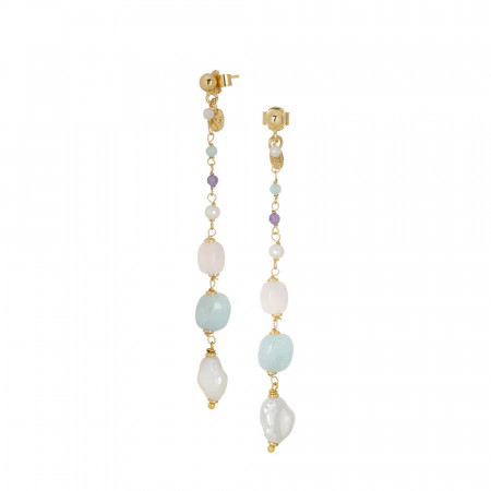 Orecchini pendenti con perle naturali, ametista, quarzo rosa, morganite pink e acquamarina