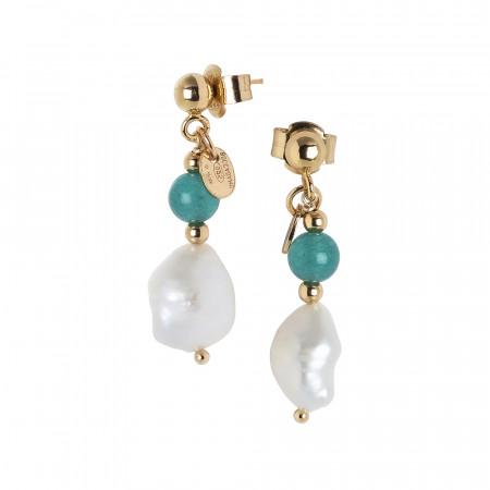 Orecchini con perla scaramazza e amazzonite