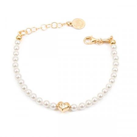 Bracciale placcato oro giallo con perle bianche e cuore centrale