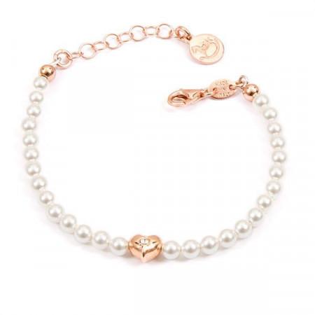 Bracciale placcato oro rosa con perle bianche e cuore centrale