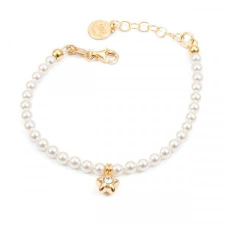 Bracciale placcato oro giallo con perle bianche e stella centrale