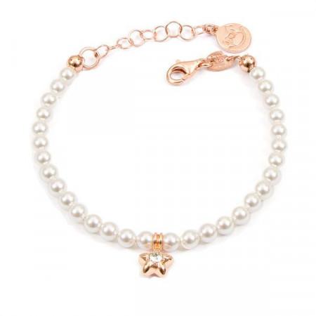 Bracciale placcato oro rosa con perle bianche e stella centrale