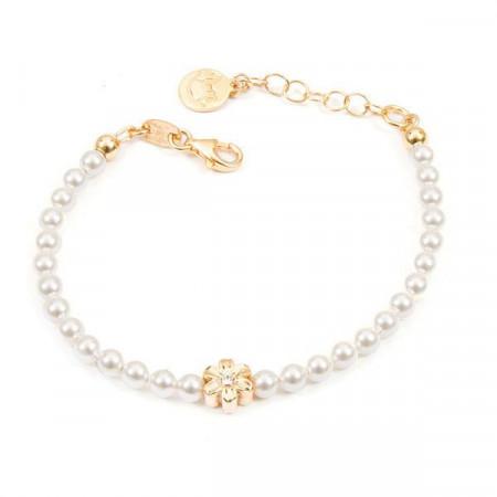 Bracciale placcato oro giallo con perle bianche e fiore centrale