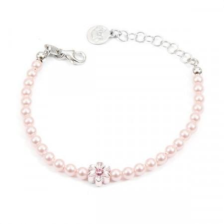 Bracciale in argento con perle rosa e fiore centrale