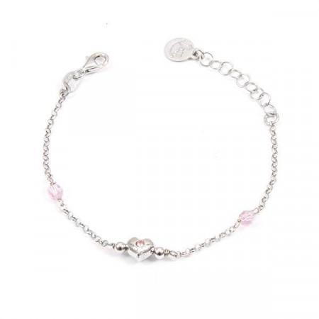 Bracciale in argento con cristalli Swarovski rosa e cuore centrale