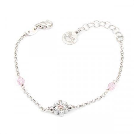 Bracciale in argento con cristalli Swarovski rosa e fiore centrale