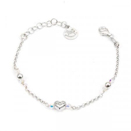 Bracciale in argento con cristalli Swarovski boreali e cuore centrale