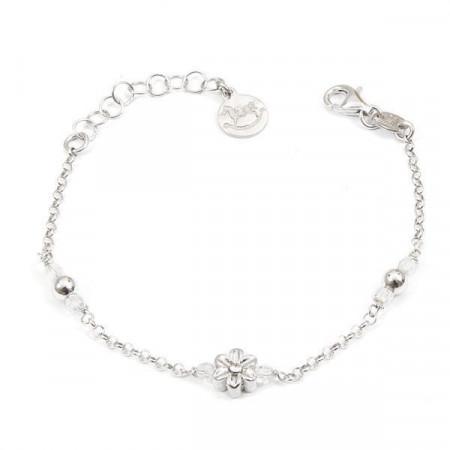 Bracciale in argento con cristalli Swarovski boreali e fiore centrale