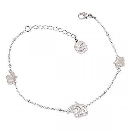 Bracciale in argento con farfalle