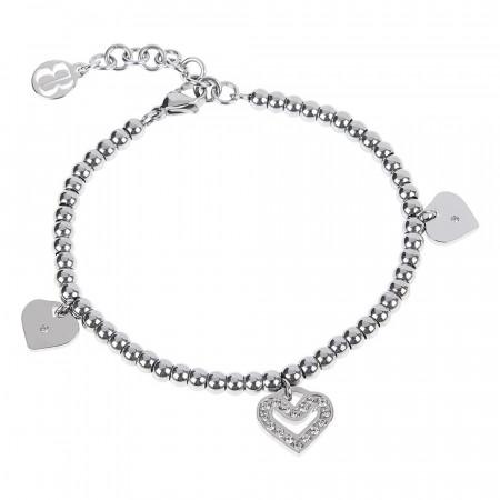 Bracciale bead con charm a forma di cuore