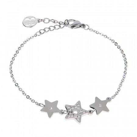 Bracciale bead con decoro centrale di stelle e zirconi