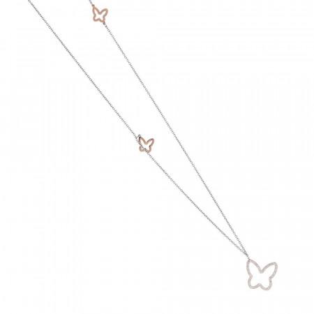 Collana in acciaio rosa con pendente a farfalla di strass