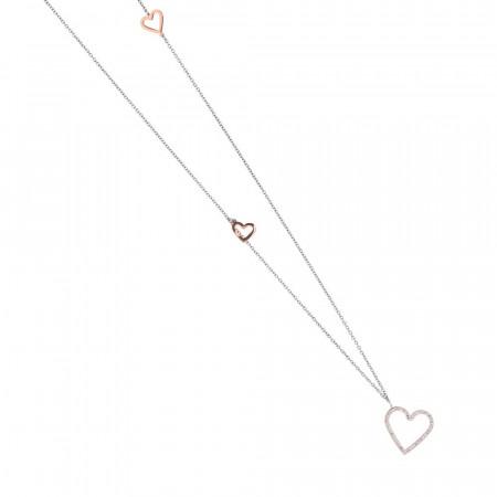 Collana in acciaio rosa con pendente a cuore di strass
