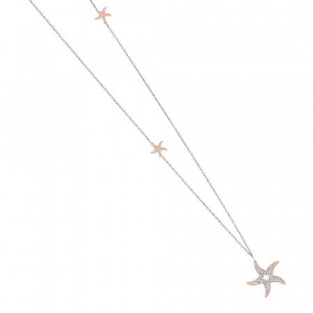 Collana in acciaio rosa con pendente a stella di strass