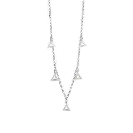 Collana con ciondoli a forma di triangolo in zirconi