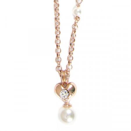 Collana placcata oro rosa con cuore e perle bianche
