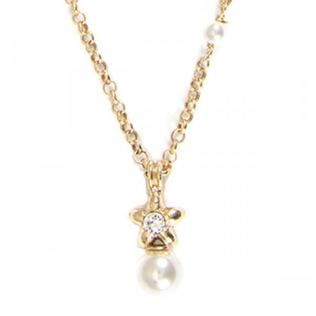 Collana placcata oro giallo con stella e perle bianche