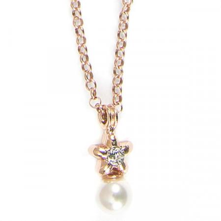 Collana placcata oro rosa con stella e perle bianche