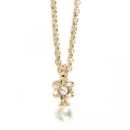 Collana placcata oro giallo con fiore e perle bianche