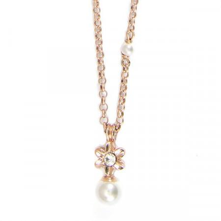 Collana placcata oro rosa con fiore e perle bianche