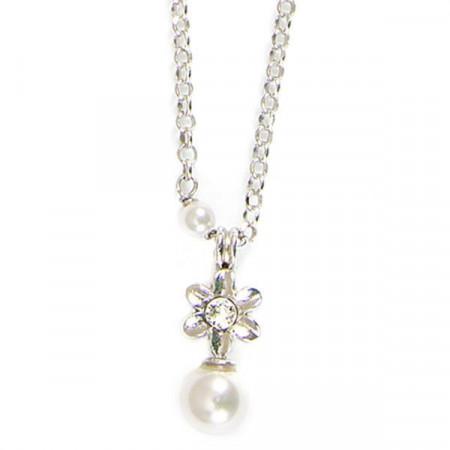 Collana in argento con fiore e perle bianche