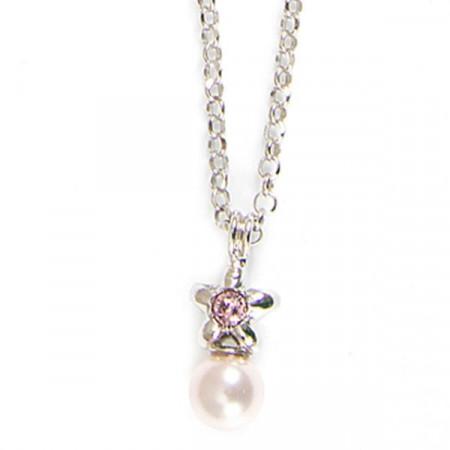 Collana in argento con stella e perle rosa