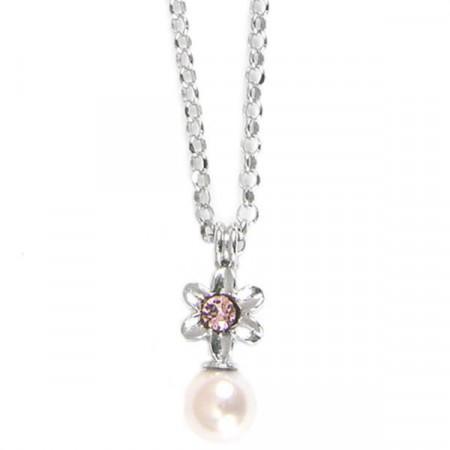 Collana in argento con fiore e perle rosa