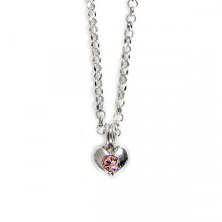 Collana in argento con cuore e cristalli Swarovski rosa