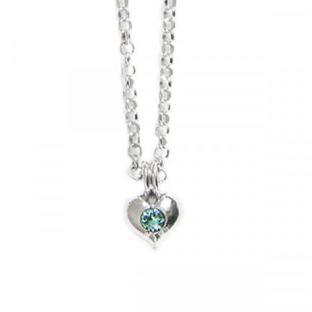Collana in argento con cuore e cristalli Swarovski verde acqua