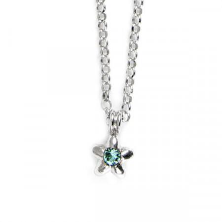 Collana in argento con stella e cristalli Swarovski verde acqua