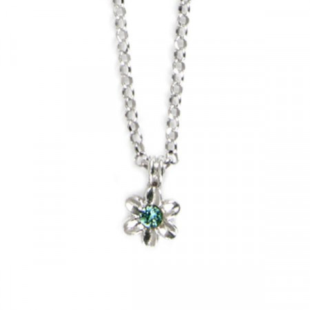 Collana in argento con fiore e cristalli Swarovski verde acqua