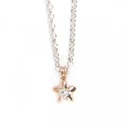 Collana in argento bicolor con stella e cristalli boreali