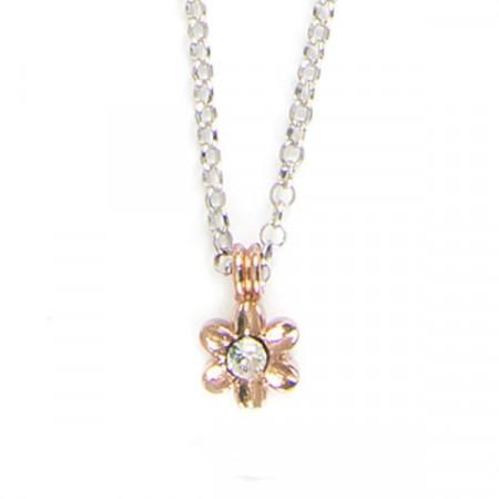 Collana in argento bicolor con fiore e cristalli boreali