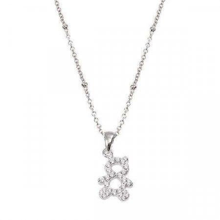 Collana in argento con orsetto pendente in zirconi