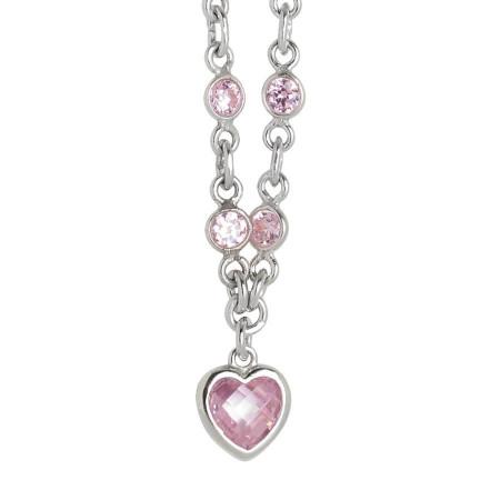 Collana in argento con zirconi rosa