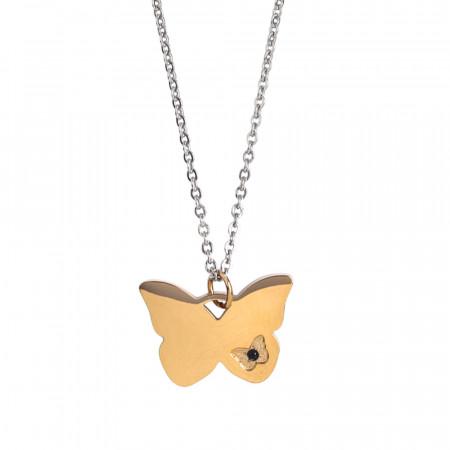 Collana con farfalla placcata oro rosa e zircone nero