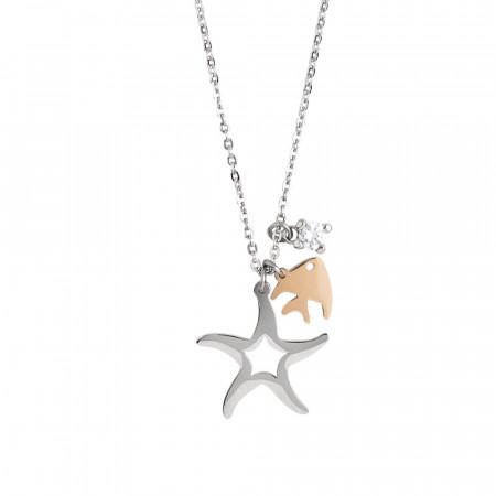 Collana con stella marina, pesciolino e zircone