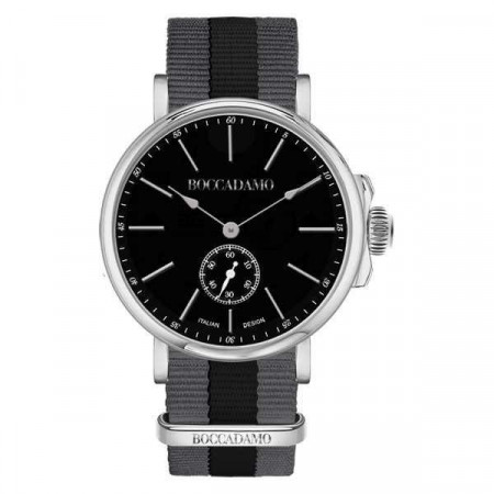 Orologio con quadrante circolare nero e cinturino in nylon nero e grigio